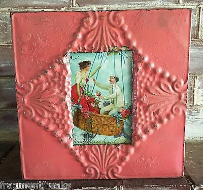 "1890's Reclaimed Antique Ceiling Tin Picture Frame 4"" x 6"" Shabby  Pink A2a"