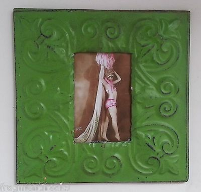 "1890'S Antique Ceiling Tin Picture Frame 4"" x 6"" Green MA48 Anniversary Metal"