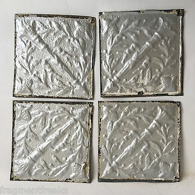 "Reclaimed Tin Ceiling Tiles 4- 6"" x 6"" Vintage Silver B5a"