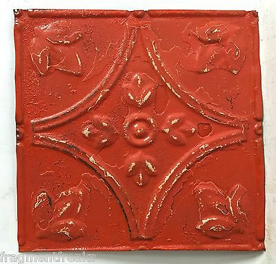 "8"" x 8"" Antique Tin Ceiling Tiles*SEE OUR SALVAGE VIDEOS* Tangerine Orange C60a"