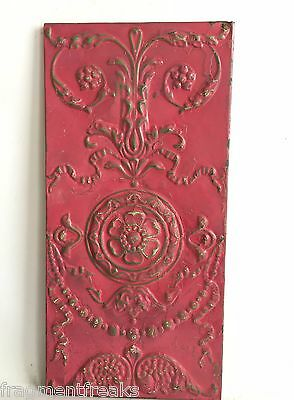 11 x 23 Antique Tin Ceiling Tile Wrapped Raspberry Wall Art Anniversary C19