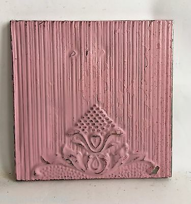 "11"" x 11"" Antique Tin Ceiling Tile Wrapped Frame Pink Anniversary Wall Art C14"