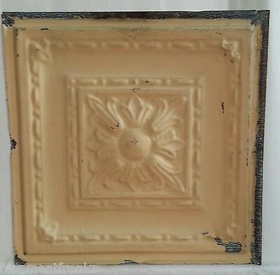 "12"" Antique Tin Ceiling Tile *See Our Videos* Tan Flower Design Metal DD23"