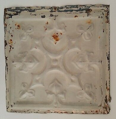 """Reclaimed Metal 12"""" x 12"""" Antique Tin Ceiling Tile   MZ4 Metal Putty"""