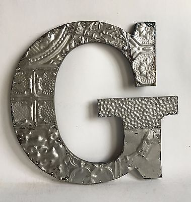 "Large Reclaimed Tin Ceiling Wrapped 16"" Letter 'G' Patchwork Metal Silver E11"