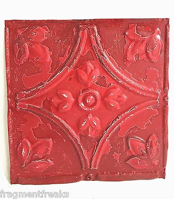 "8"" x 8"" Antique Tin Ceiling Tiles*SEE OUR SALVAGE VIDEOS* Cherry Red C57a"