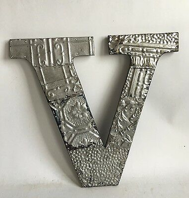 "Large Reclaimed Tin Ceiling Wrapped 16"" Letter 'V' Patchwork Metal Silver E12"