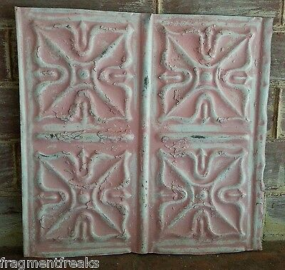 """12"""" x 12"""" Antique Tin Ceiling Tile *SEE OUR SALVAGE VIDEOS*  Pink TR17 Metal"""