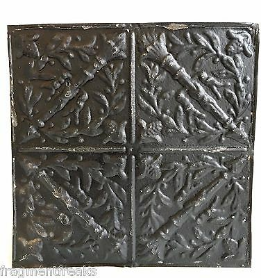 """12"""" x 12"""" Antique Tin Ceiling Tile Reclaimed C39a  Black *SEE SALVAGE VIDEOS*"""
