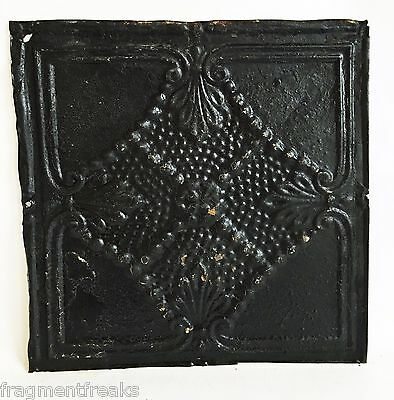 "12"" x 12"" Antique Tin Ceiling Tile Reclaimed C42a  Black *SEE SALVAGE VIDEOS*"