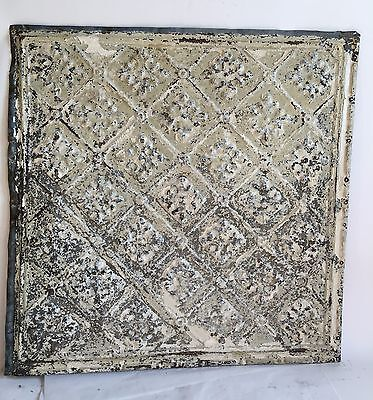 """1890's 24"""" x 24"""" Antique Reclaimed Tin Ceiling Tile Sage C46a Metal Anniversary"""