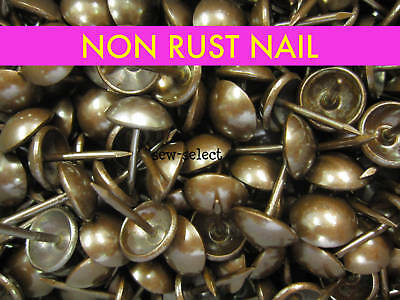 250 UPHOLSTERY NAILS - Non rust antique on solid brass - Studs pins fabric tacks