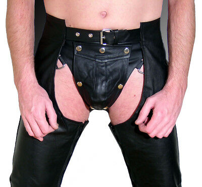 Lederchaps schwarz neu gay CHAPS Lederhose leather pants black Pantalon Cuir
