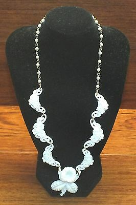Fashion Jewelry White Floral & Faux Pearls Women's Jewelry Accessory Necklace!