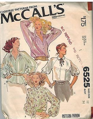 6525 Vintage McCalls Sewing Pattern Misses Set of Buttoned Blouses Carefree 12