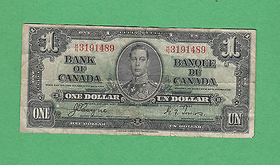1937 Bank of Canada - $1 Bank Note - Coyne Towers - H/N 3191489 - Fine