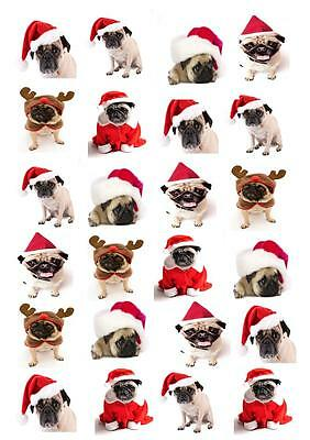 Christmas Pug Dog STAND UP Cupcake Fairy Cake Topper Edible Paper Decorations