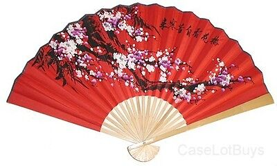 "(1) Oriental 35"" Feng Shui~Asian Floral~Wall Decor Fan"