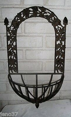 Antique Large Iron Leaves Berries Gorgeous Wall Hanger Planter for Home, Garden