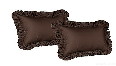 2 Piece Queen Size Ruffled Shams Solid Brown Cover Case Decorative Pillow
