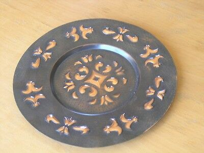 Beautiful  Vintage Arts & Crafts Polish Hand Hammered Copper Plate Wall Hanger