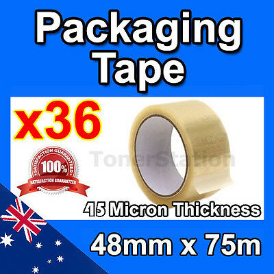 36 Roll Packing Tape Packaging Sticky Sealing Shipping Clear Box Carton 48mm 75m