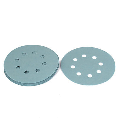 "5"" Dia 8 Hole 5000 Grit Abrasives Hook and Loop Sanding Disc Light Green 10PCS"