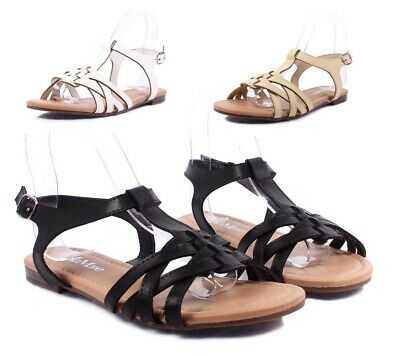 3 Color Gladiator Slip On Side Buckle Faux Leather Sexy Womens Sandals Size 6-10