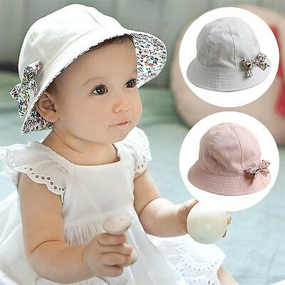Baby Girl Cute Floral Bow Sun Hat Cotton Summer/Spring/Fall Cap For 6-24 Months