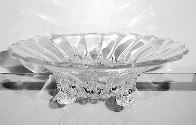 """New Martinsville JANICE Crystal 10.75"""" Flared 3-Toed Bowl"""