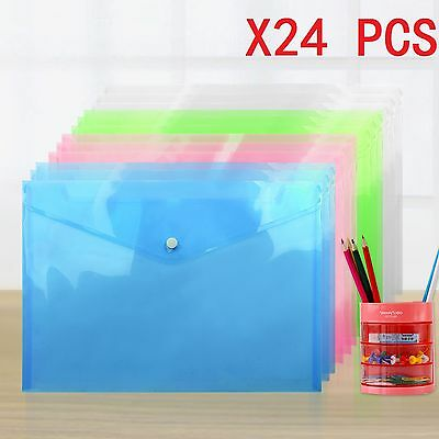 24X A4 Plastic Popper Stud Document Wallets Folders Filing Paper Storage Office