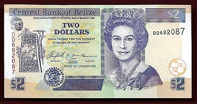 Belize 2005 Two Dollars Unc  Banknote
