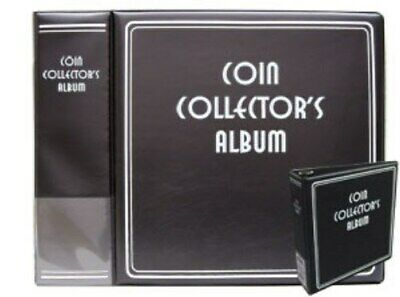 """3"""" Black BCW Coin Album + 50 - BCW Pro 20 Pocket Coin Binder Pages for 2x2 flips"""