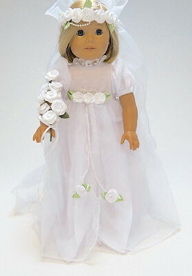 "18"" Doll Clothes Bridal Dress fits 18"" Doll Bridal Gown Bride's Dress"