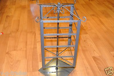 NEW 4 Tier SQUARE STYLE Earring Jewelry Carousel Display Rack (Raw Steel Finish)