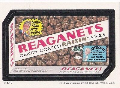 1985 Topps Wacky Packages Puzzle Back Reaganettes Candy #10