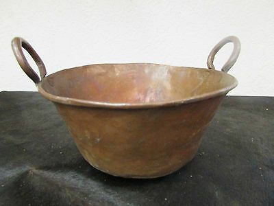 Antique Mexican Copper Bowl #15-Old Cazo-Rustic-Primitive-14Wx8D-Beauty-Solid