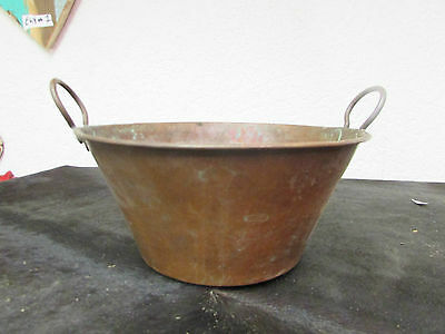 Antique Mexican Copper Bowl #23-Old Cazo-Rustic-Primitive-11Wx6D-Beauty-Solid