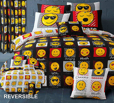 Emoji Emoticons Faces Fully Reversible Black / White Duvet Cover Bedding Set