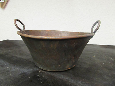 Antique Mexican Copper Bowl #24-Old Cazo-Rustic-Primitive-11Wx6D-Beauty-Solid