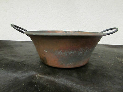 Antique Mexican Copper Bowl #25-Old Cazo-Rustic-Primitive-14Wx4.5D-Beauty-Solid