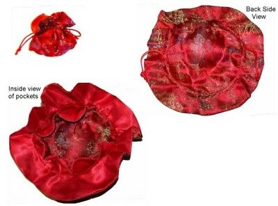 RED CHINESE SATIN BROCADE JEWELRY POUCH bag travel NEW