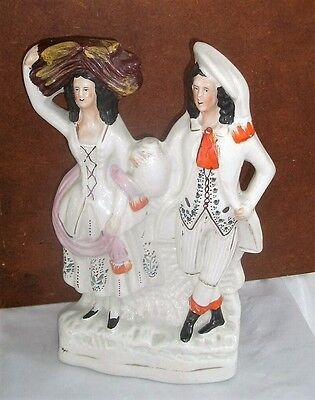 Stunning Antique Staffordshire Harvesters Man Lady Dancers Figure 12 Inches High