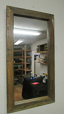 Old Reclaimed Primitive Mirror #1-Wood-Rustic-Antique-16x30--Re-Purposed-Wall
