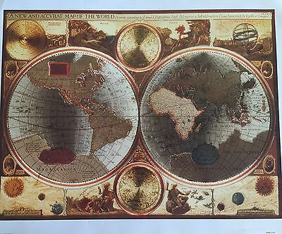 Antique World Map Poster 16 X 20