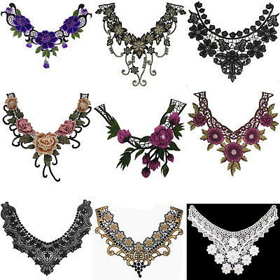 Lace Floral Embroidered Neckline Neck Collar Trim Clothes Sewing Applique