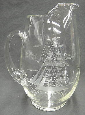Etched Glass Sailing Boat Ship 2 Quart Water Pitcher Barware