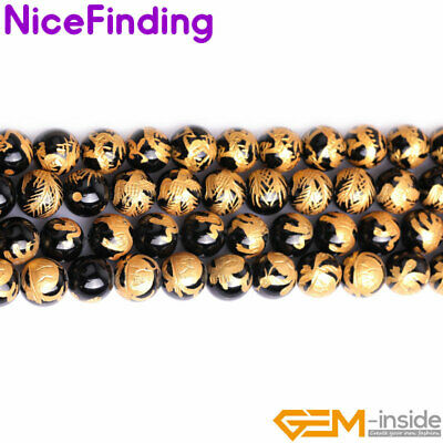 """Natural Black Agate Onyx Carved Buddhist Mala Stone Beads For Jewelry Making 15"""""""