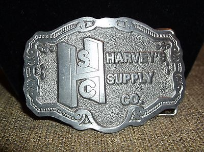 Vintage Belt Buckle Harvey's Supply Co. First  Edition 1987 Silvertone Or Pewter