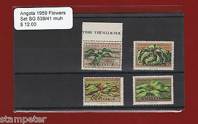 1959 Angola Flowers SG 538/41 Set of 4 MUH